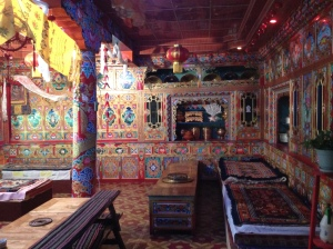 Most Tibetans will have at least one room like this. It's expensive to put so much attention into the art work, but beautiful. Felt like walking into a temple.